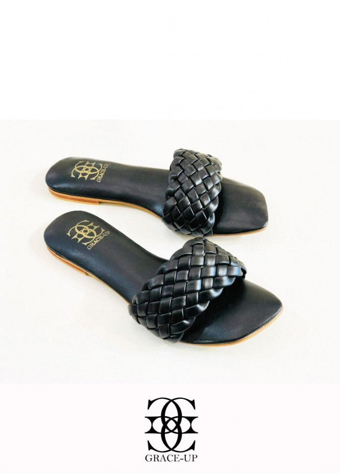 Grace Up Shoes Casual Style  Flats  626 BLACK