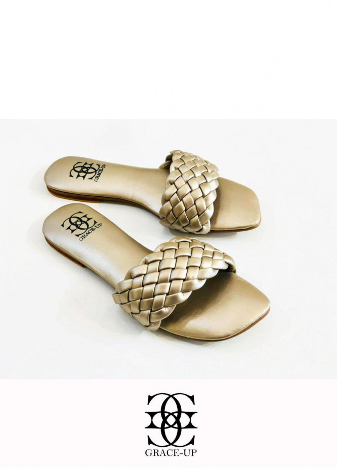 Grace Up Shoes Casual Style  Flats  626 GOLDEN