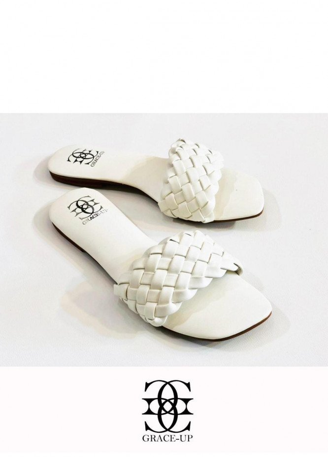 Grace Up Shoes Casual Style  Flat  626 White
