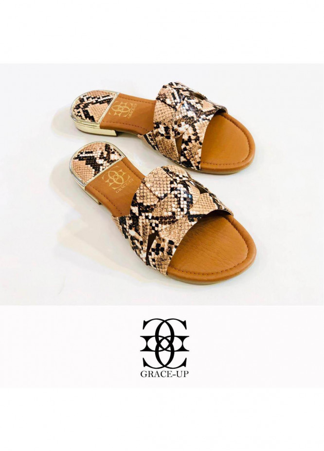 Grace Up Shoes Casual Style Flat 689 BROWN