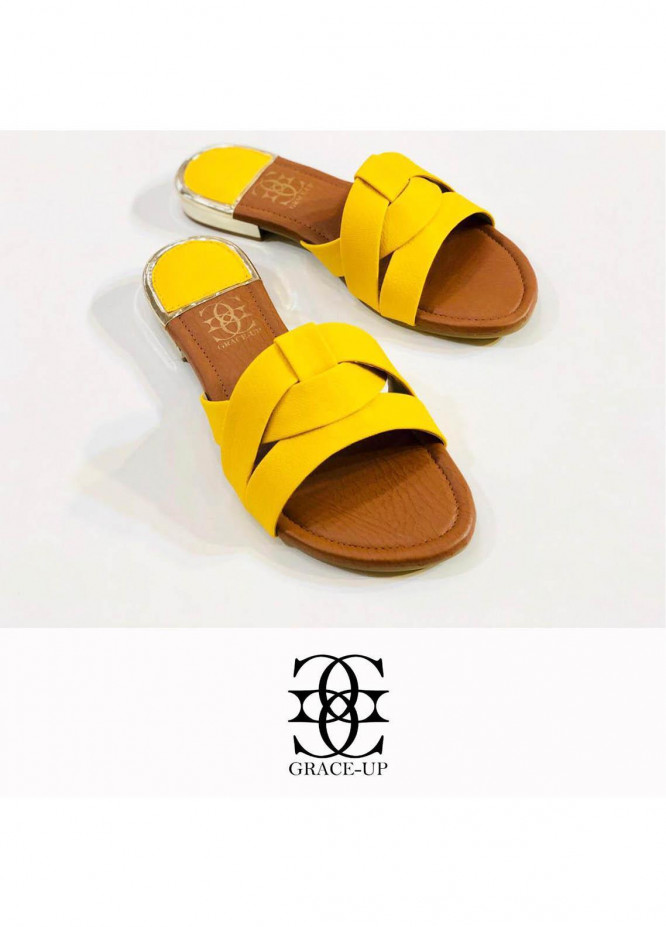 Grace Up Shoes Casual Style  Flat  689 YELLOW