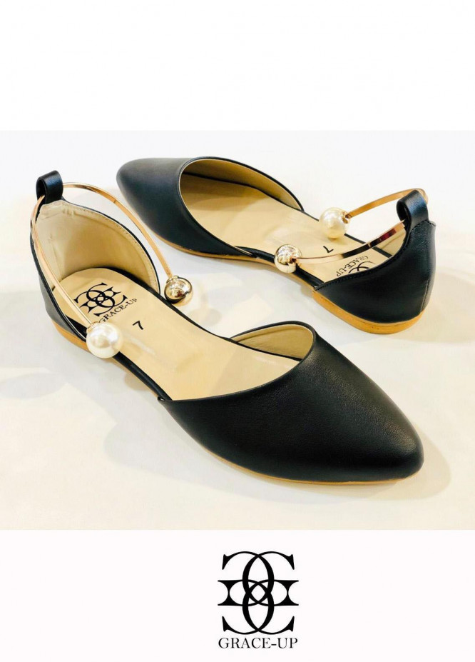 Grace Up Shoes Casual Style  Flat  696 BLACK