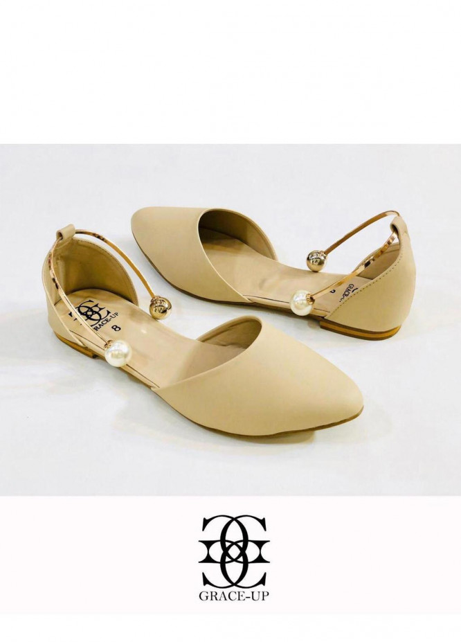 Grace Up Shoes Casual Style  Flat  696 FAWN