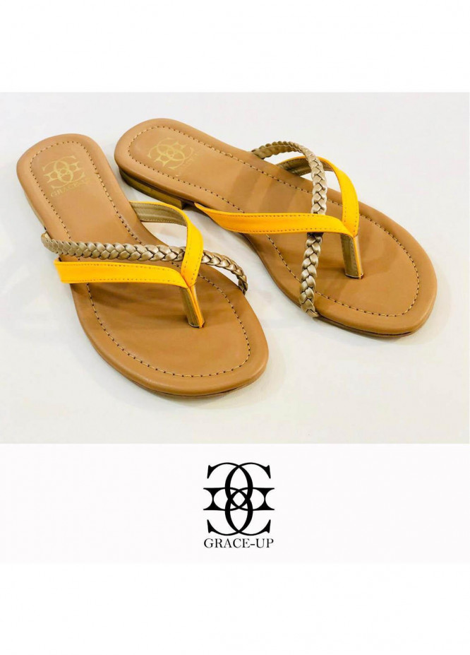 Grace Up Shoes Casual Style  Flat  699 YELLOW