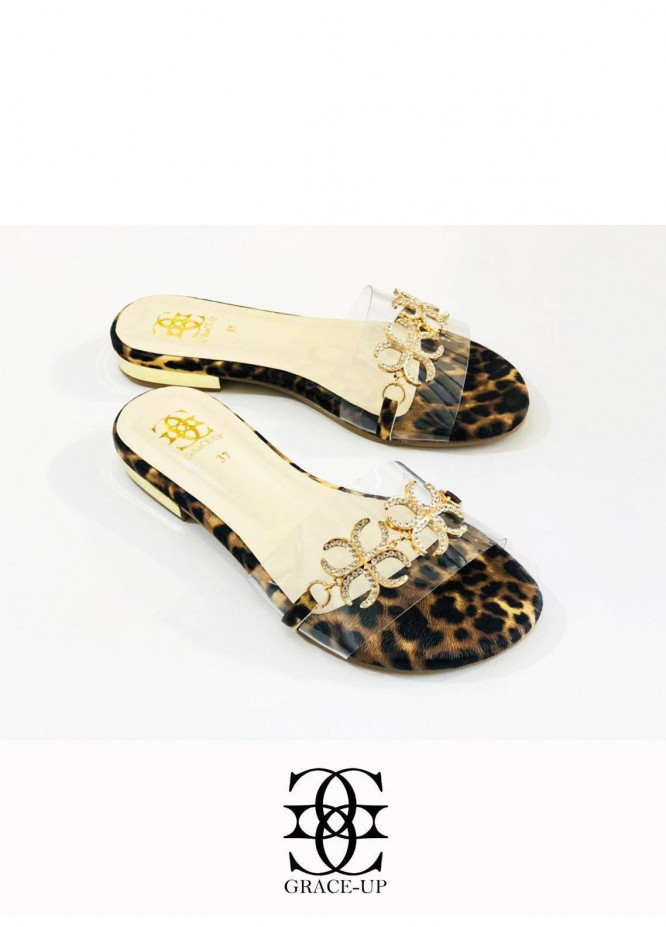 Grace Up Shoes Casual Style  Flat  712 Cheetah