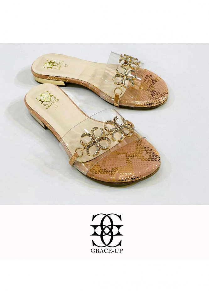 Grace Up Shoes Casual Style  Flat  712 Peach