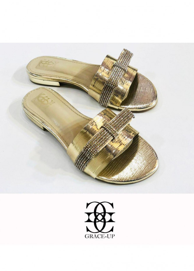 Grace Up Shoes Casual Style  Flat  716 Golden
