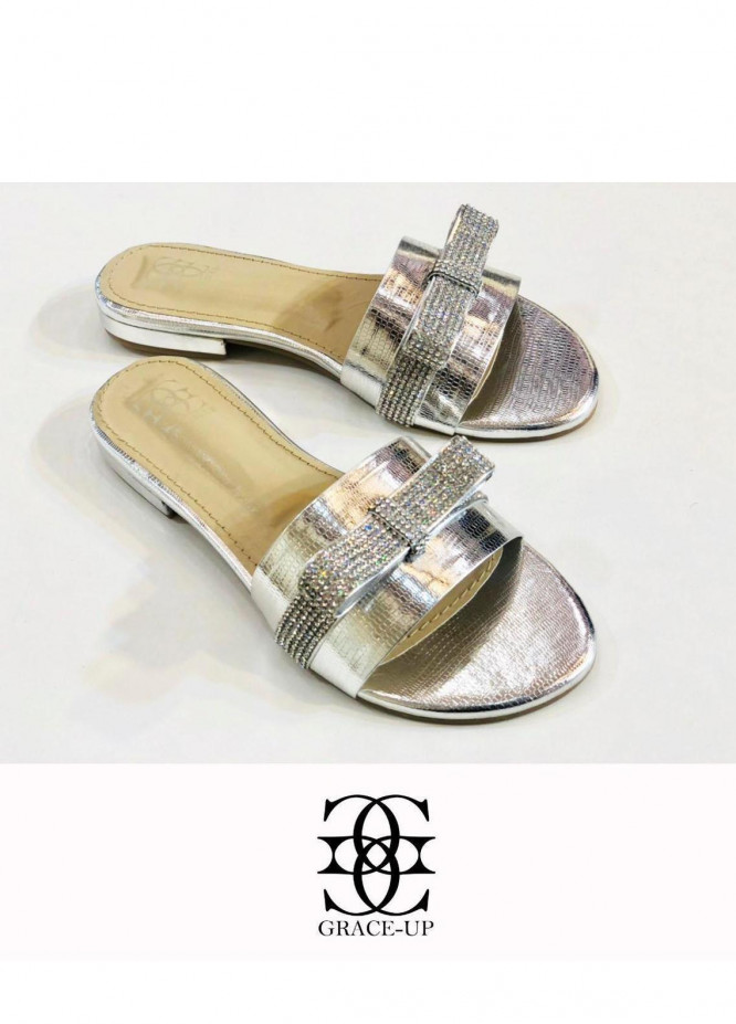 Grace Up Shoes Casual Style  Flat  716 Silver
