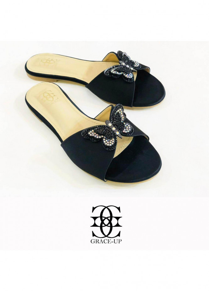 Grace Up Shoes Casual Style  Flat  718 BLACK