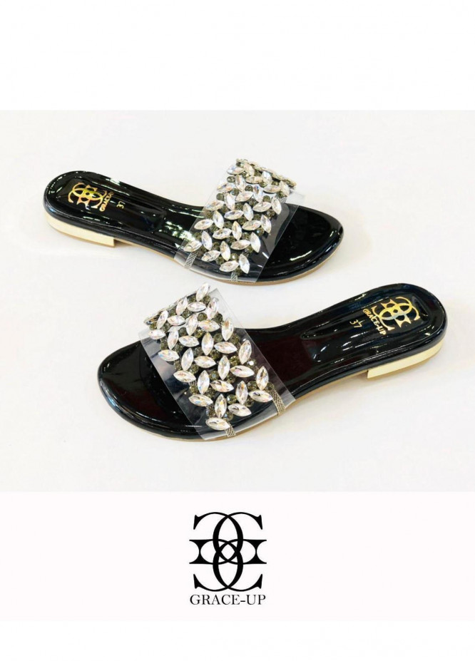 Grace Up Shoes Casual Style  Flat  719 BLACK