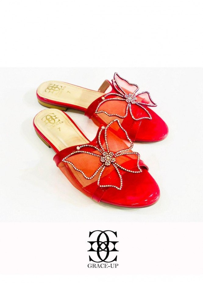 Grace Up Shoes Casual Style  Flat  720 Red