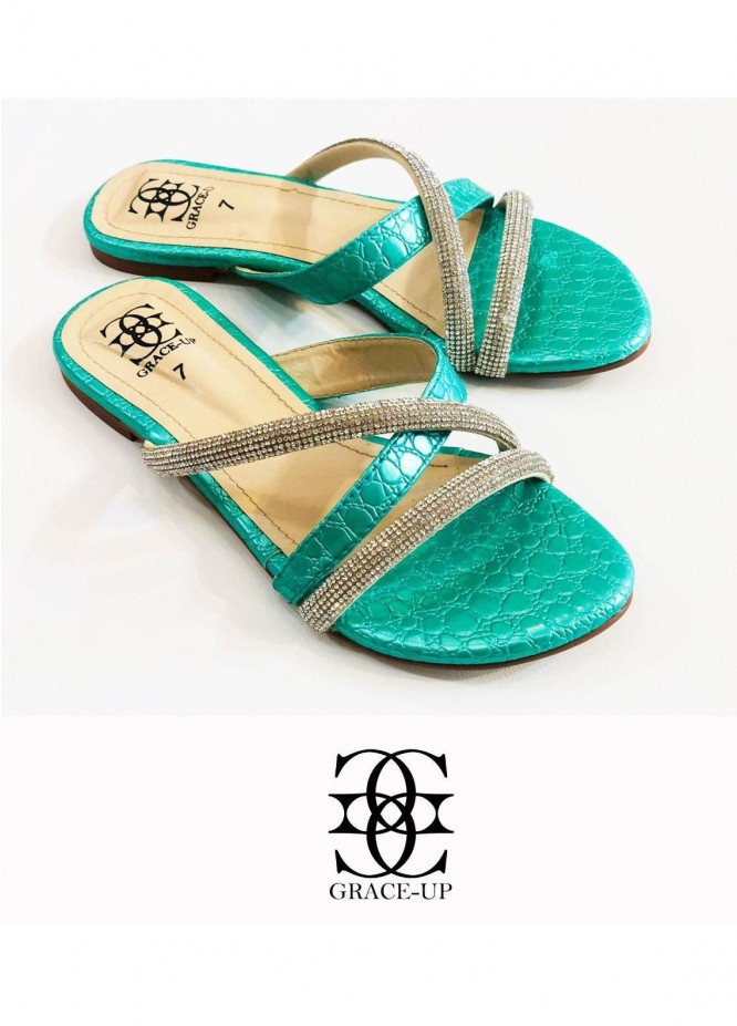 Grace Up Shoes Casual Style  Flat  725 GREEN