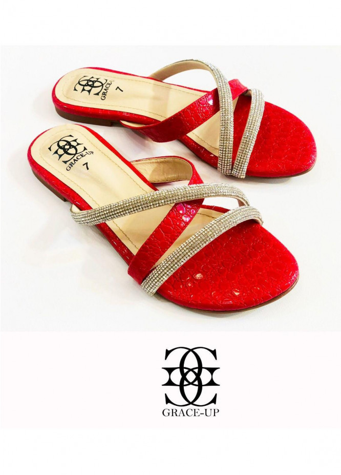 Grace Up Shoes Casual Style  Flat  725 RED