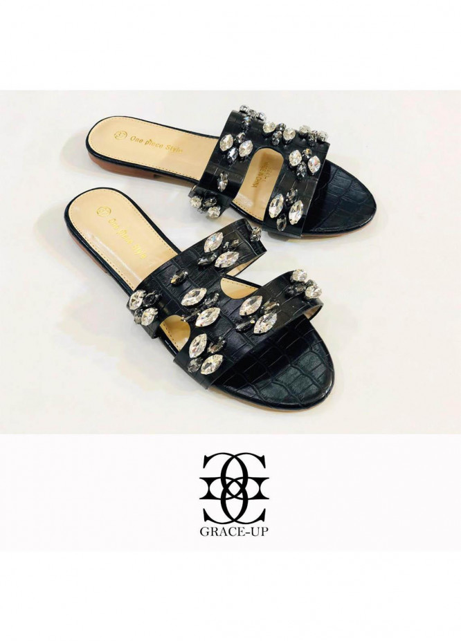 Grace Up Shoes Casual Style  Flat  A291 BLACK