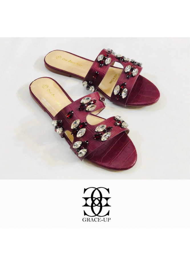 Grace Up Shoes Casual Style  Flat  A291 MAROON
