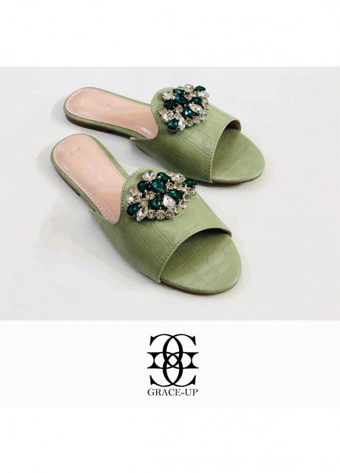 Grace Up Shoes Casual Style  Flat  A293 GREEN
