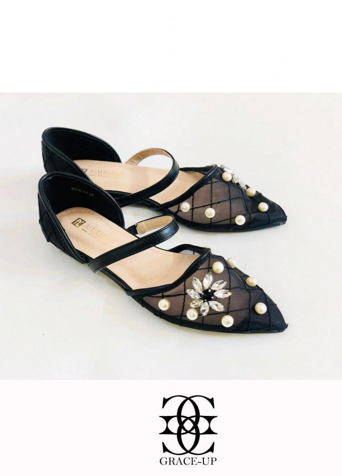 Grace Up Shoes Casual Style  Flat  A318 BLACK
