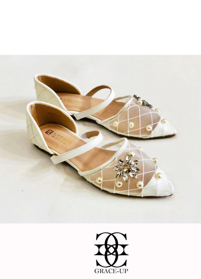 Grace Up Shoes Casual Style  Flat  A318 WHITE
