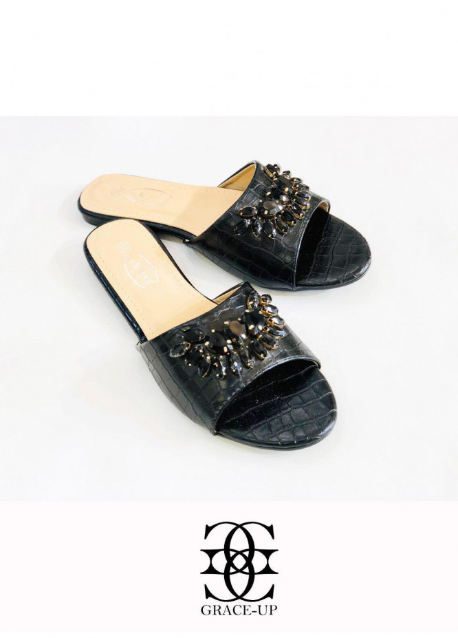 Grace Up Shoes Casual Style  Flat  A326 BLACK