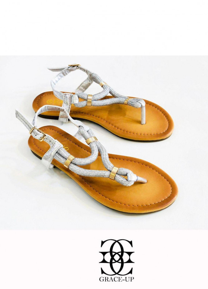 Grace Up Shoes Casual Style  Flat  A330 SILVER
