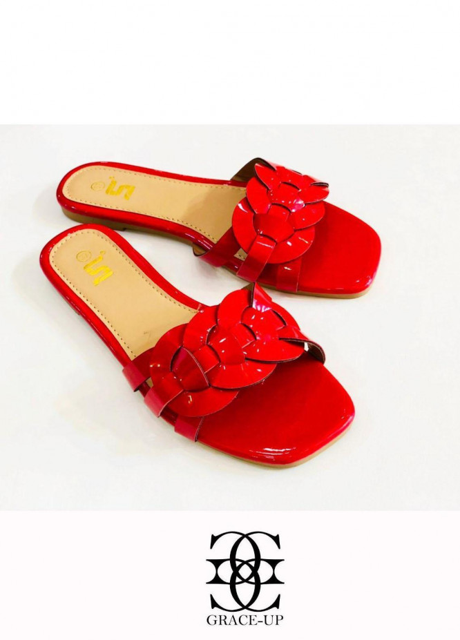 Grace Up Shoes Casual Style  Flat  A331 RED