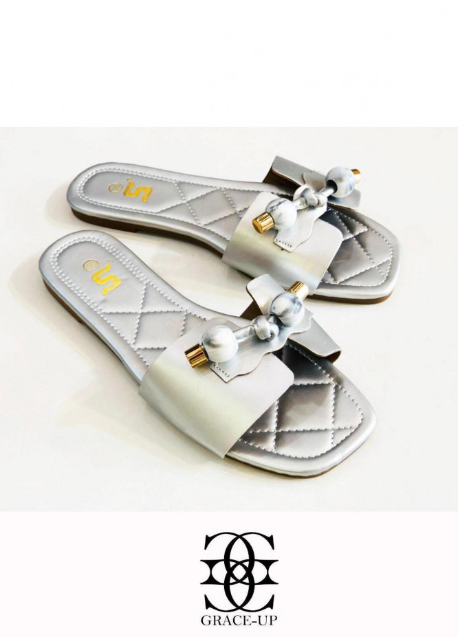 Grace Up Shoes Casual Style  Flat  A332 SILVER