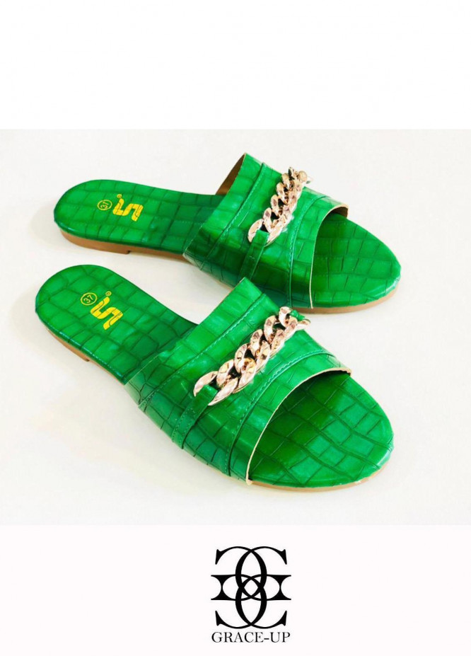 Grace Up Shoes Casual Style  Flat  A333 GREEN
