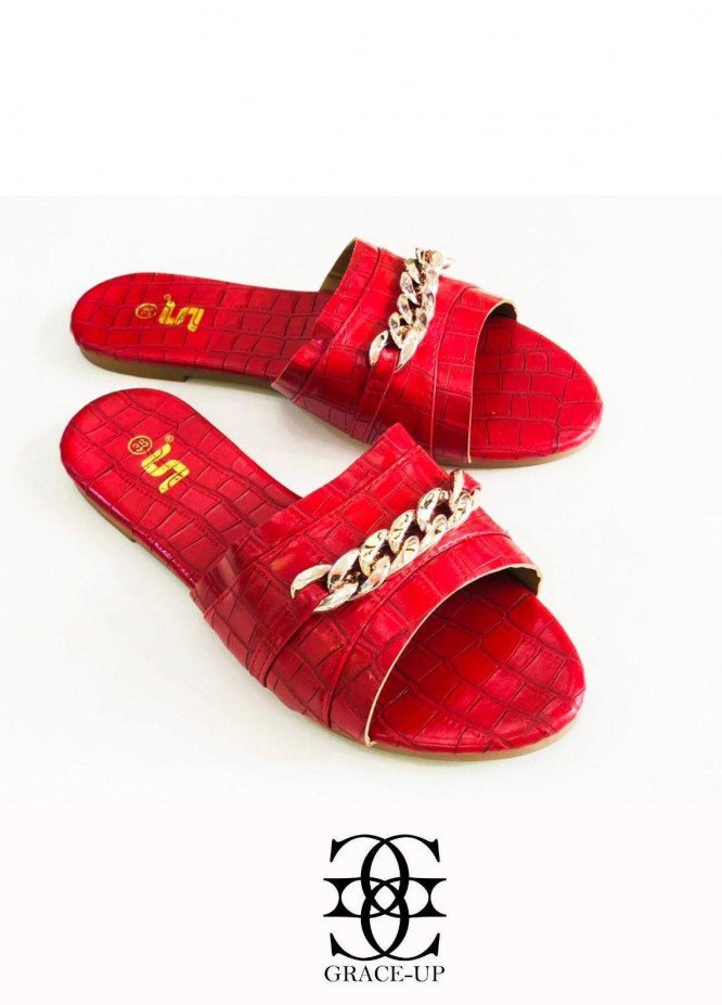 Grace Up Shoes Casual Style  Flat  A333 RED