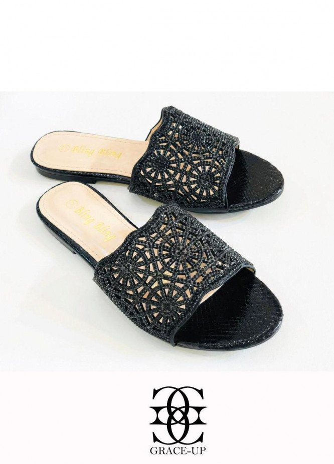 Grace Up Shoes Casual Style  Flat  A335 BLACK