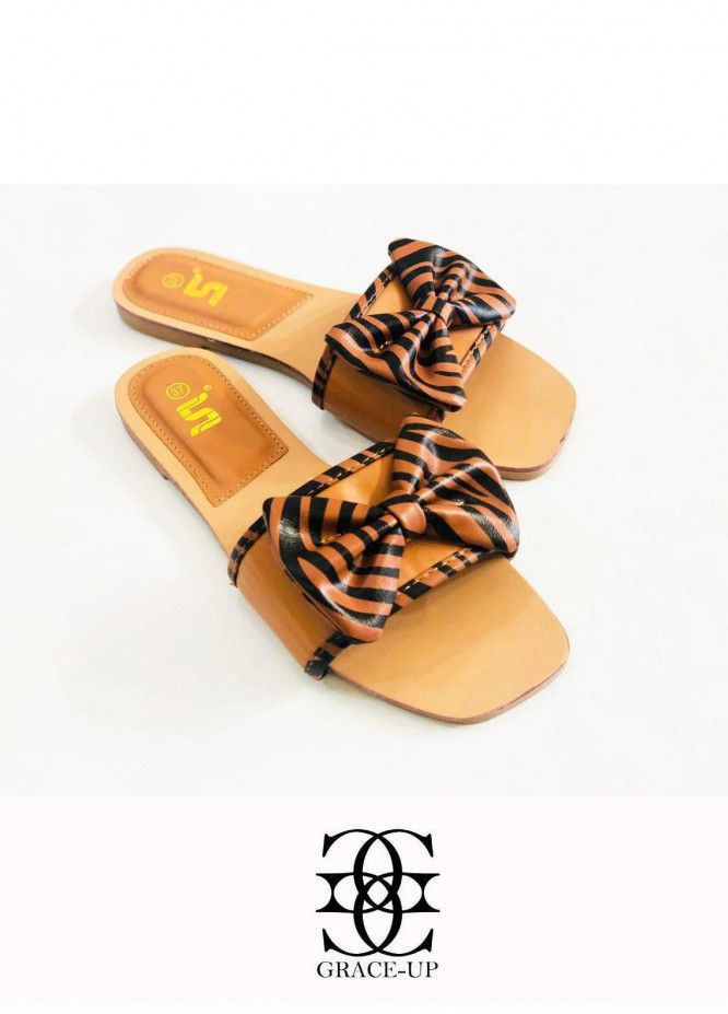 Grace Up Shoes Casual Style  Flat  A342 BROWN