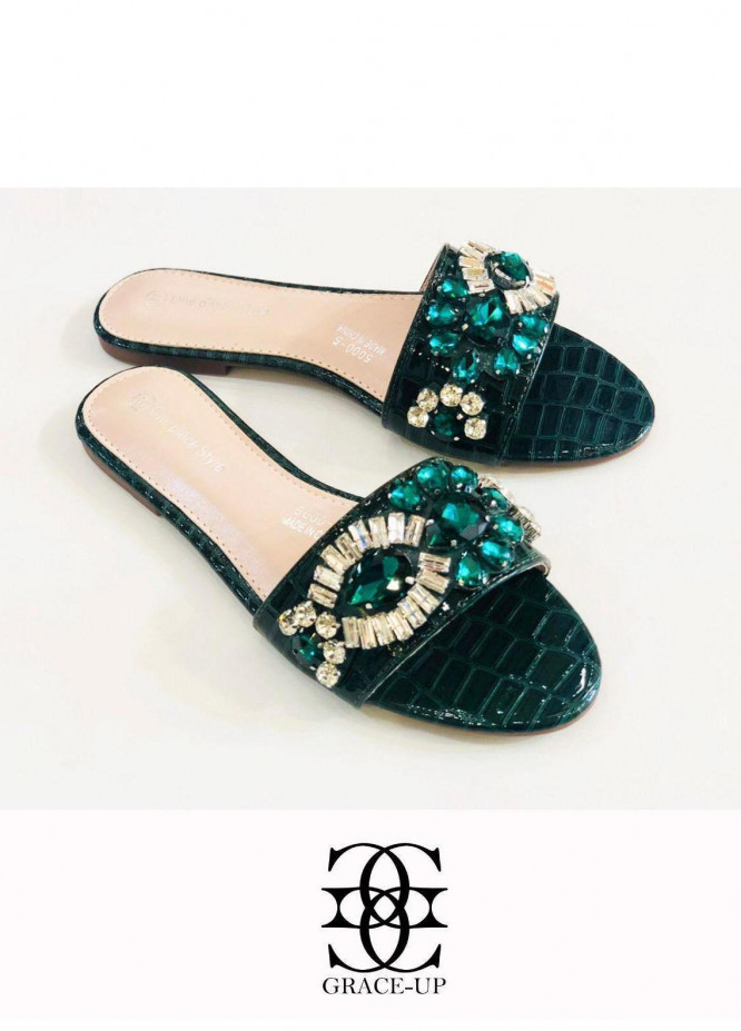 Grace Up Shoes Casual Style  Flat  A347 GREEN