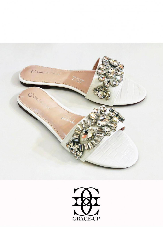 Grace Up Shoes Casual Style  Flat  A347 WHITE