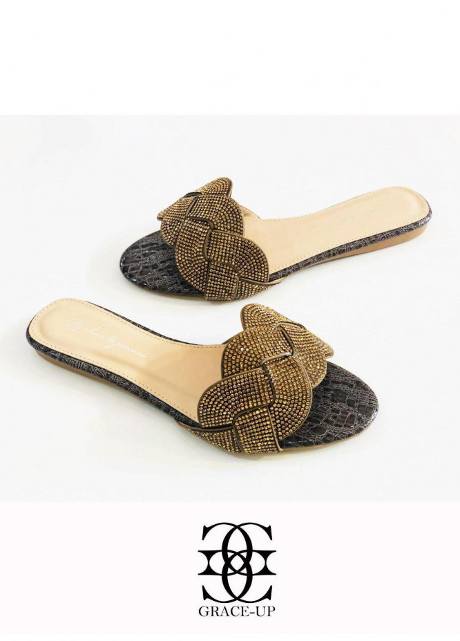 Grace Up Shoes Casual Style  Flat  A348 BROWN