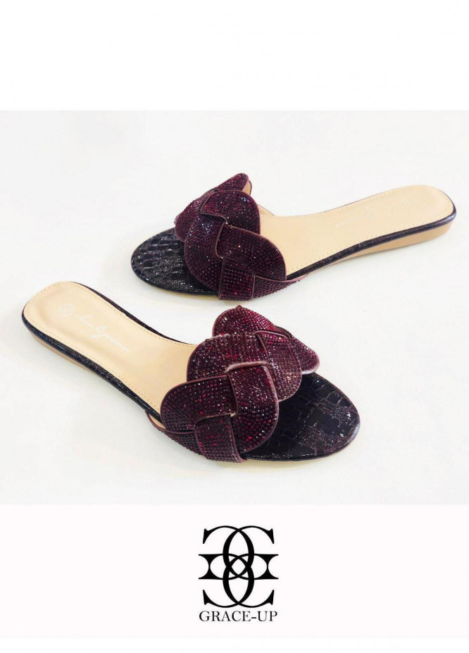 Grace Up Shoes Casual Style Flat A348 MAROON