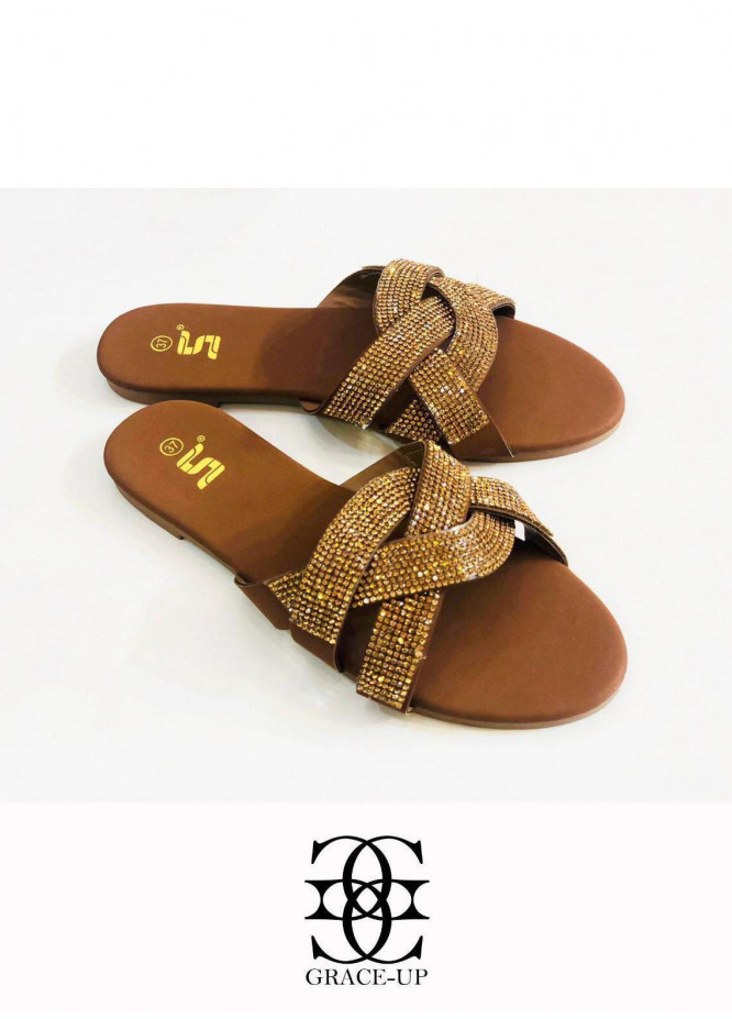 Grace Up Shoes Casual Style  Flat  A349 BROWN