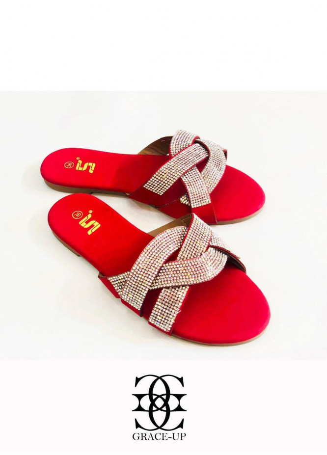 Grace Up Shoes Casual Style  Flat  A349 RED