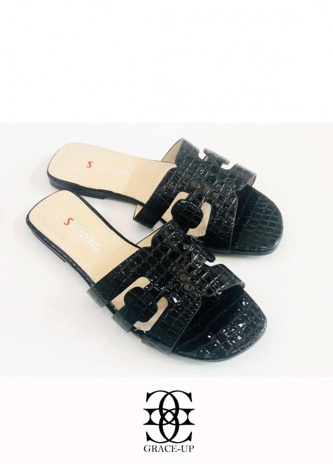 Grace Up Shoes Casual Style  Flats  A387 BLACK