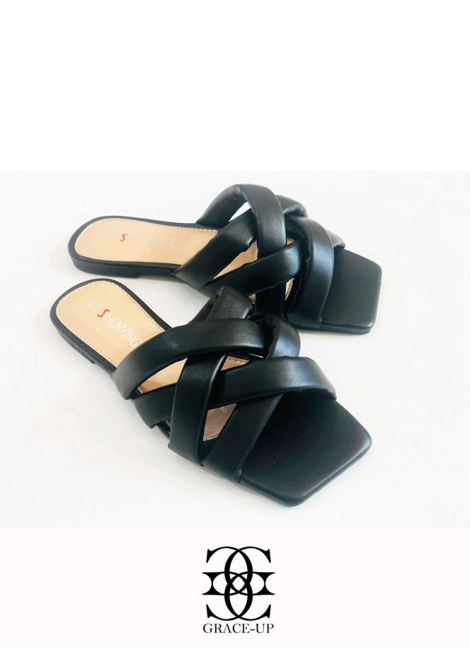 Grace Up Shoes Casual Style  Flats  A390 BLACK