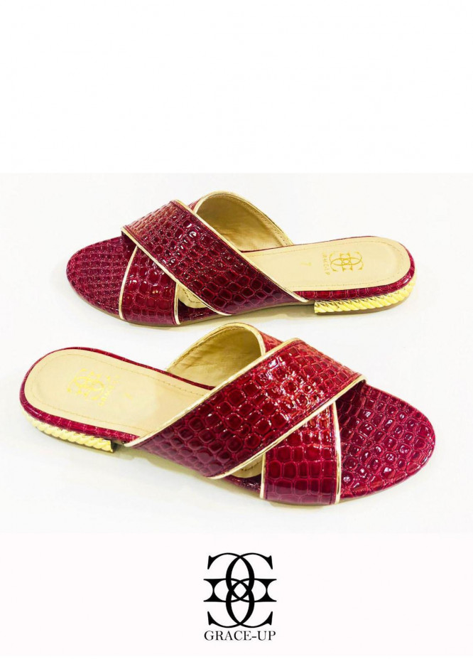 Grace Up Shoes Casual Style  Flats  O635 Maroon