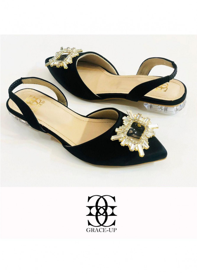 Grace Up Shoes Casual Style  Flat  O640 BLACK