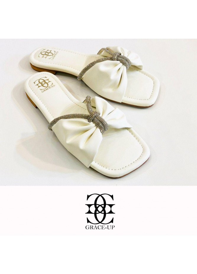 Grace Up Shoes Casual Style  Flat  O643 WHITE