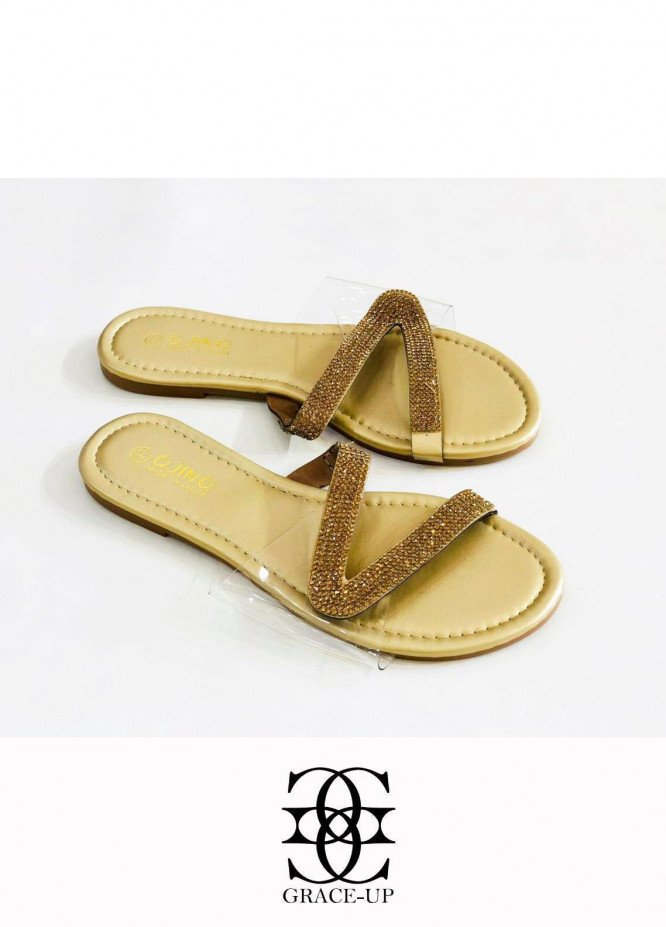 Grace Up Shoes Casual Style  Flat  W81 GOLDEN
