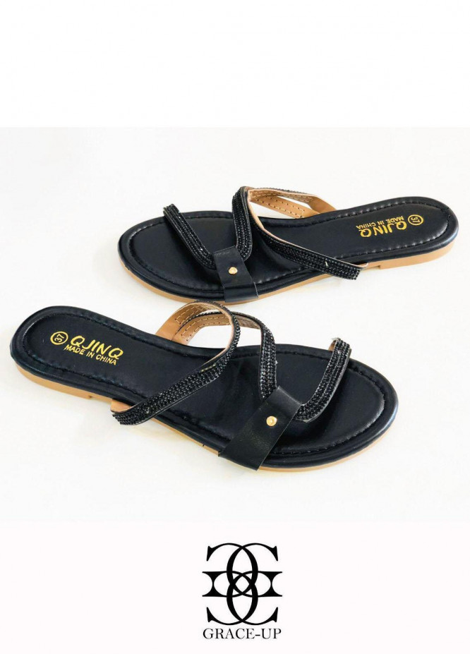 Grace Up Shoes Casual Style  Flat  W82 BLACK