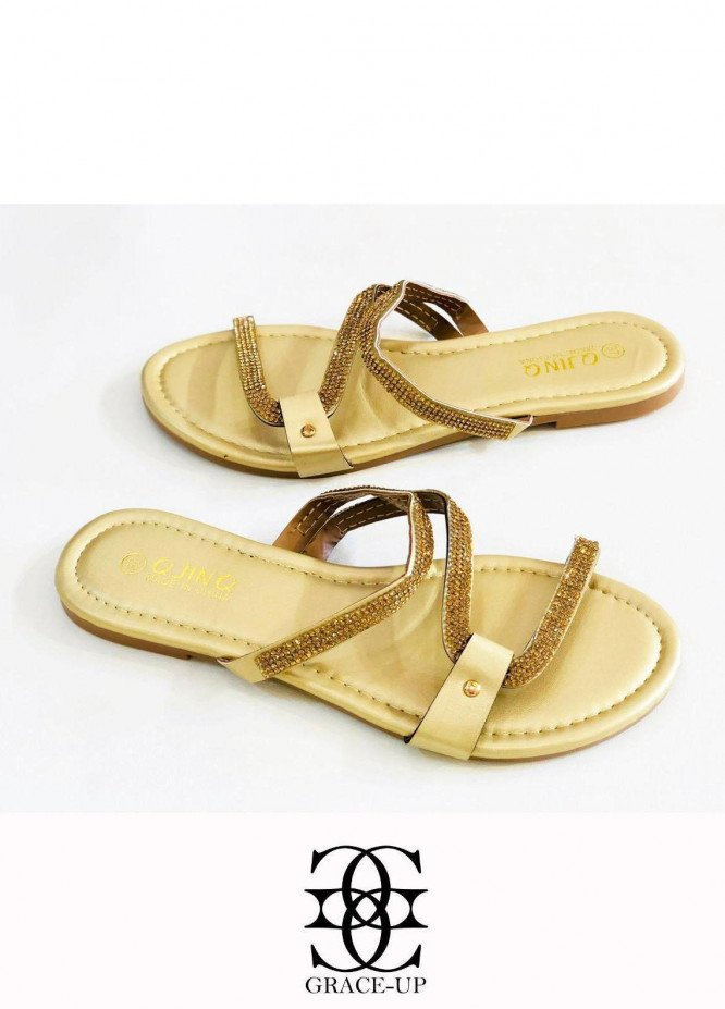 Grace Up Shoes Casual Style  Flat  W82 GOLDEN