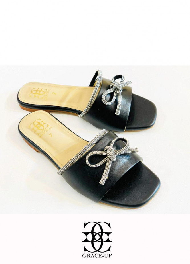 Grace Up Shoes Casual Style  Flats  O636 Black