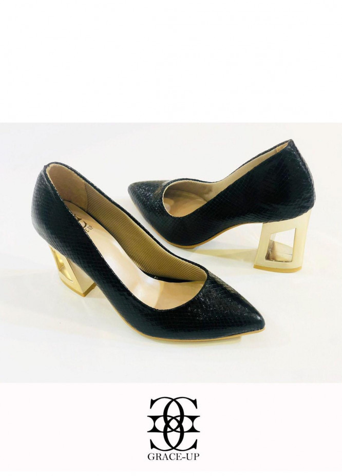 Grace Up Shoes Formal Style  Block Heels  O483 BLACK
