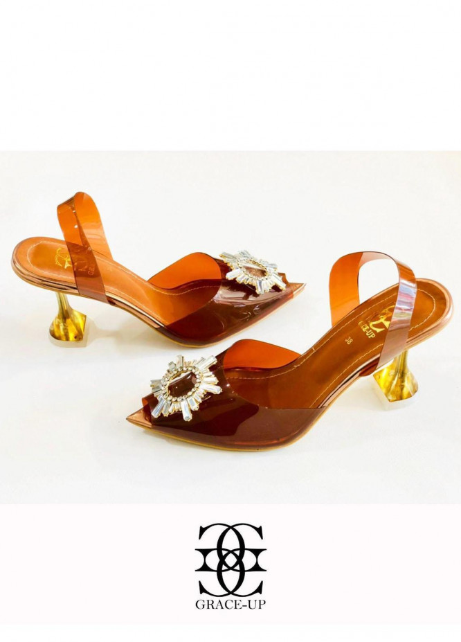 Grace Up Shoes Formal Style  Heels  473 BROWN