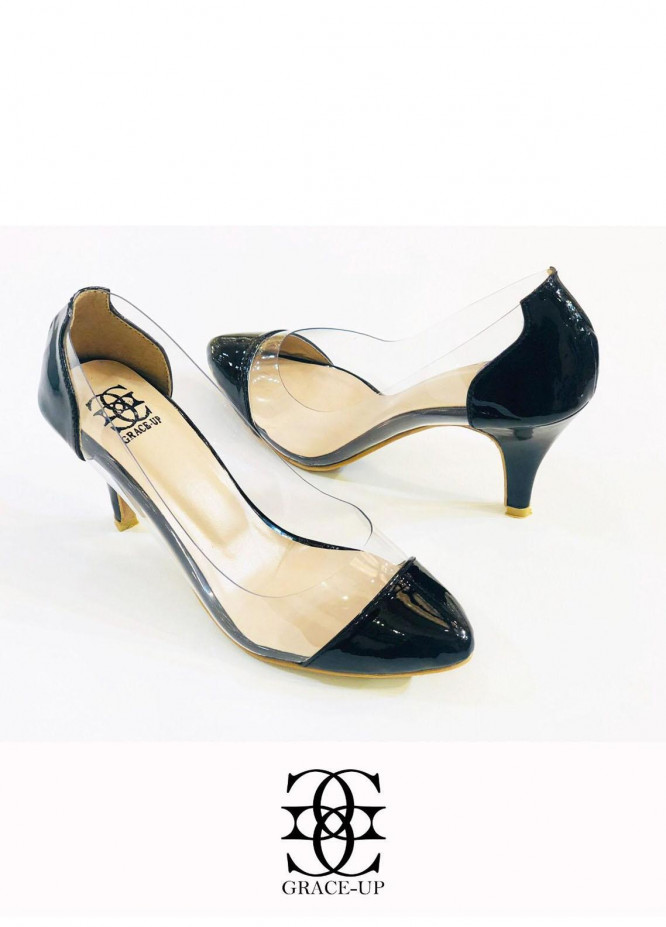 Grace Up Shoes Formal Style  Heels  O489 BLACK