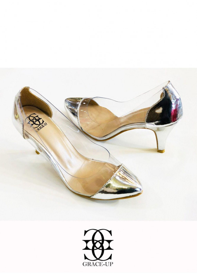 Grace Up Shoes Formal Style  Heels  O489 SILVER