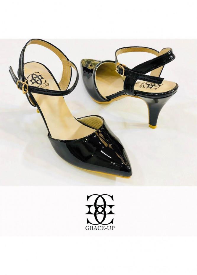 Grace Up Shoes Formal Style  Heel  0469 BLACK